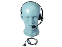 Kopfhörer einseitig mit verstellbarem Überkopfbügel + Schwanenhalsmik. + Inline-PTT + Stecker für Ve